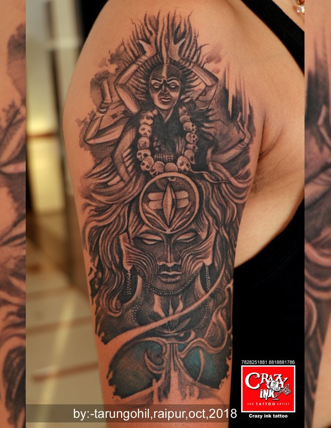 Hyper realistic tattoo lord shiva and goddess kali motive. Done by ...