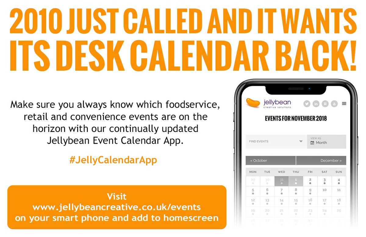 Get ready for #2019 with our #FoodandDrink Industry #Events Calendar #App. Using your smartphone click the link https://bit.ly/2QHwJJJ , go to menu, click Share & then Add to Home Screen – eh voila! You can also export events for your personal calendar. Enjoy! #JellyCalendarApp