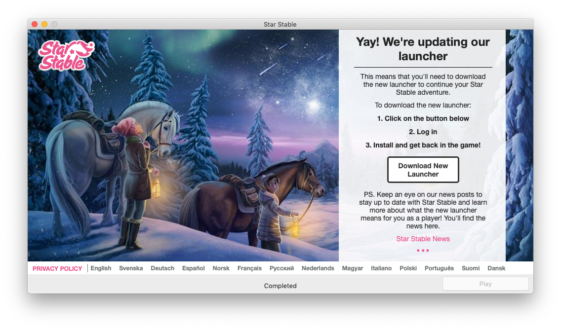 """Star Stable on Twitter: """"We've started rolling out a new launcher, which  some of you may have seen already! For Mac users, there is one change: the  minimum system requirement will be"""
