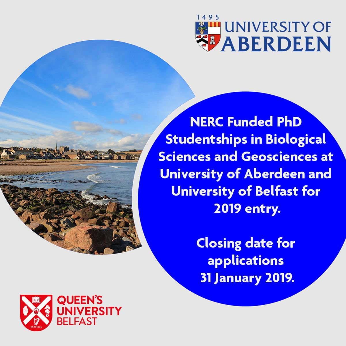 NERC Funded PhD Studentships in Biological Sciences and Geosciences at University of Aberdeen and University of Belfast for 2019 entry Closing date for applications 31 January 2019. http://bit.ly/2LvXChU
