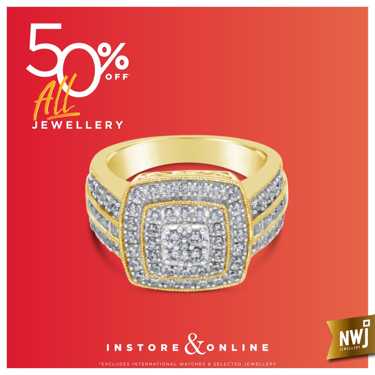 66f49f92e86d Strike gold with this bold 9ct Gold and diamond ring - value R38460 ...