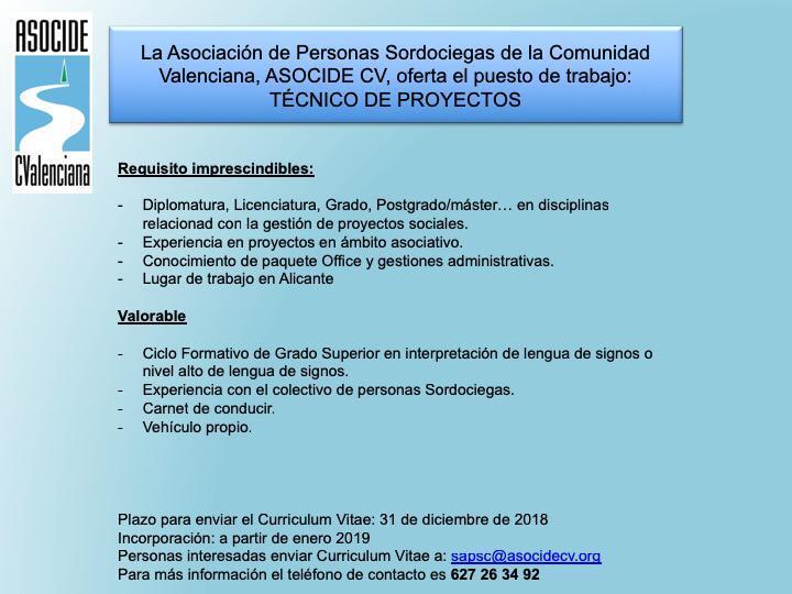 ASOCIDE-CV oferta puesto de trabajo: Técnico de Proyectos - Alicante Du8_iorWkAETEbe