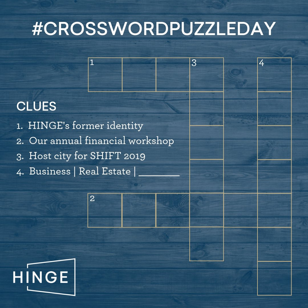 It's National #CrosswordPuzzleDay ✏️ How fun! Can you solve our HINGE-themed #crosswordpuzzle?