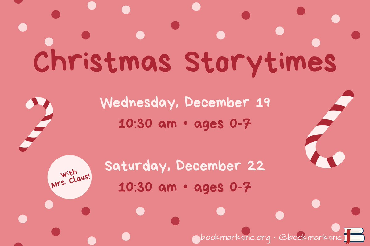 Mrs. Claus is coming to town! Join us for a special storytime tomorrow at 10:30am at Bookmarks!