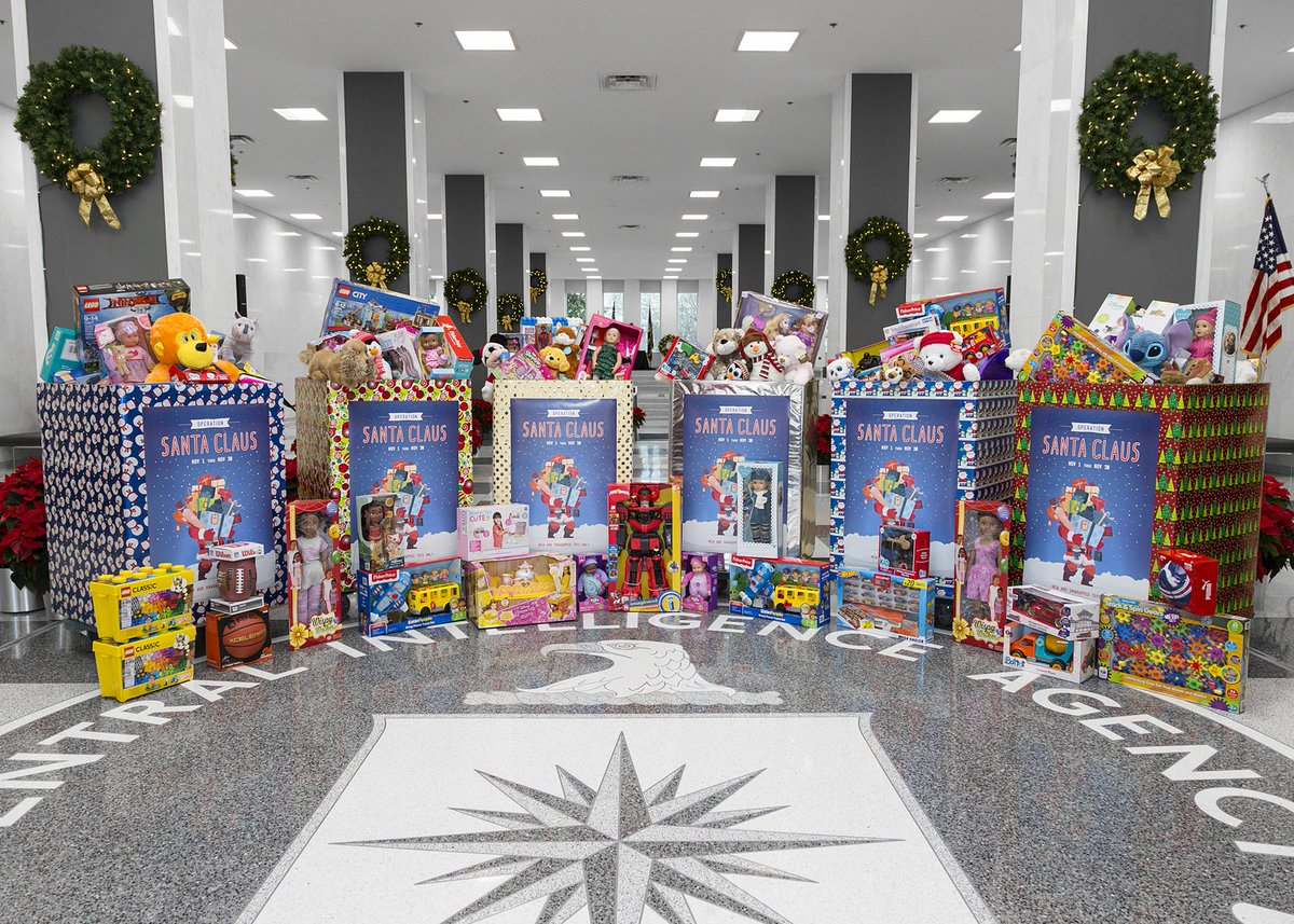 """50 years ago, we started """"Operation Santa Claus"""" as a way for the CIA family to donate new #toys to disadvantaged children. Since our formal collaboration with @USMC's """"Toys for Tots"""" program in 2000, our toy collection has grown each year.  https://t.co/dylxKsRtR4"""