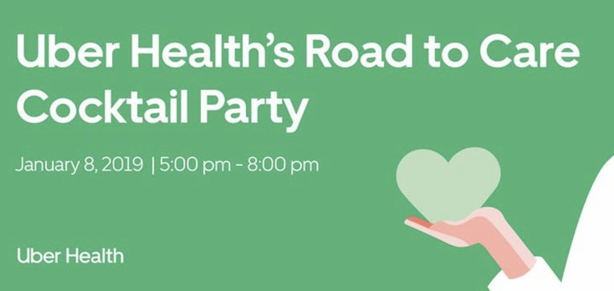 Come learn about @Uber Health during #jpm2019. We will be hosting a cocktail reception at our offices near the Conference on January 8th. RSVP here: https://www.eventbrite.com/e/uber-healths-road-to-care-cocktail-party-registration-53839244630?ref=eios&aff=eios… We are improving access to care with our world class transportation platform!