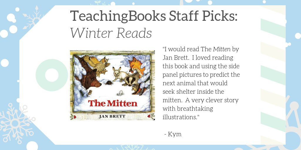 "test Twitter Media - We asked TeachingBooks Staff, ""What would you read over winter break if you were a kid?""  Kym picked The Mitten! Hear the author share the backstory at https://t.co/pj6FzQF6uK  #TBStaffPicks #WinterReads  @penguinkids   @byjanbrett https://t.co/BzO0lSTPF0"