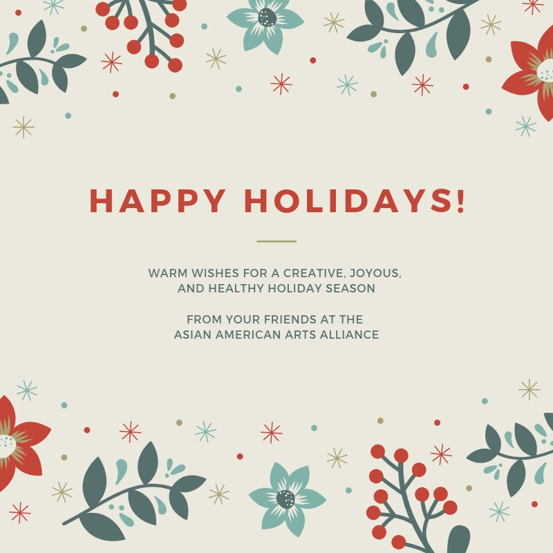 Reloaded twaddle – RT @aaartsalliance: Happy Holidays to you! The Alliance will be closed next week...