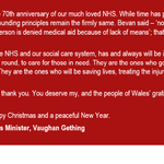 My message to staff working in the NHS and social care in Wales this Christmas 🎄🎄🎄: