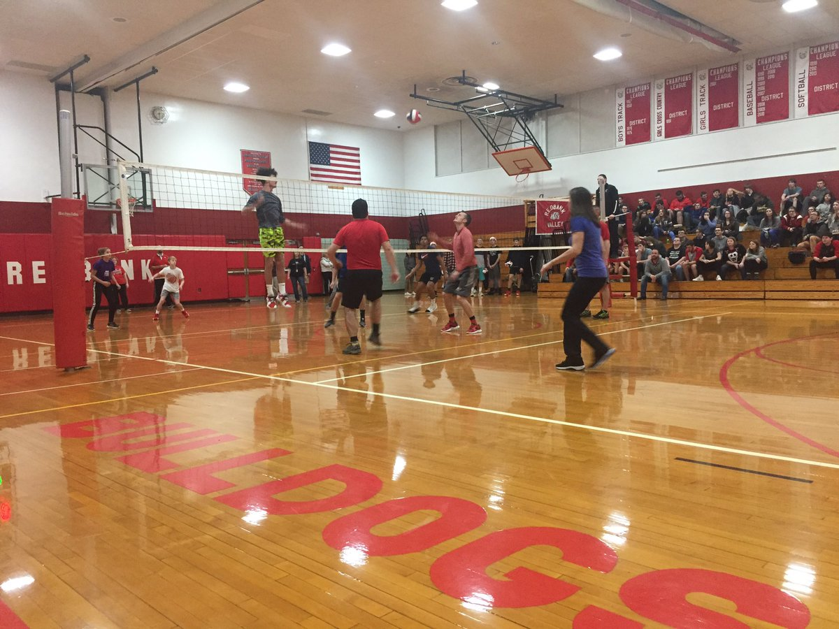 How do we round out our 2nd annual @StudentEdcamp? A student vs teacher volleyball match!