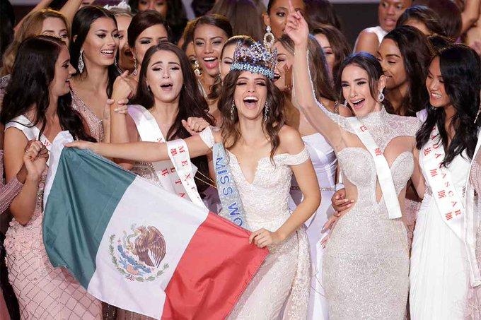 #VanessaPoncedeLeon , #MissWorld2018 Mexicana Vanessa Ponce de León vence concurso de Miss Mundo 2018 - Nicolene Pichapa Limsnukan(da Tailândia) terminou em segundo e Quiin Abenakyo( de Uganda) no terceiro lugar Photo