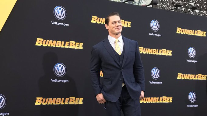 .@JohnCena is all smiles at the #BumblebeeMovie premiere! Photo