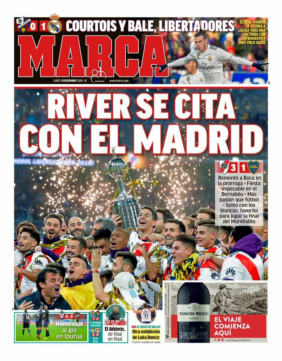 «River se cita con el Madrid». Así titula el diario @marca su portada de hoy. #RiverPlate remontó a #BocaJuniors en el #EstadioSantiagoBernabéu y se ha hecho con el billete para la final del #MundialDeClubes, donde puede ser un posible rival del @realmadrid. #HalaMadridYNadaMás