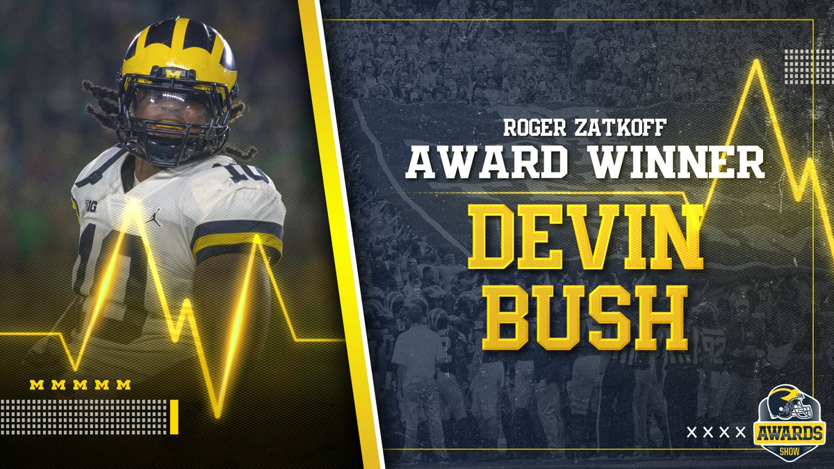 The Roger Zatkoff Award to Top Linebacker: Devin Bush!   Congrats, @_Dbush11!   NOMINEES:   Devin Bush  Khaleke Hudson  Josh Ross  Devin Gil  #GoBlue<br>http://pic.twitter.com/H59sfricXx