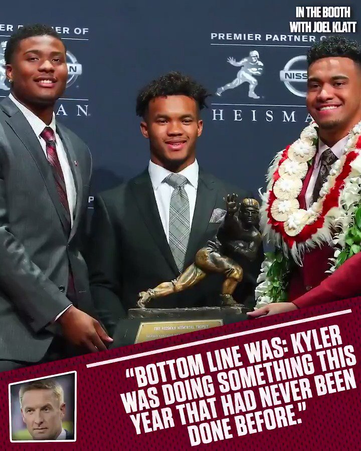 """""""Kyler was doing something this year that had never been done before in the history of the sport.""""   breaks down why 's Kyler Murray was chosen as the Heisman-winner."""