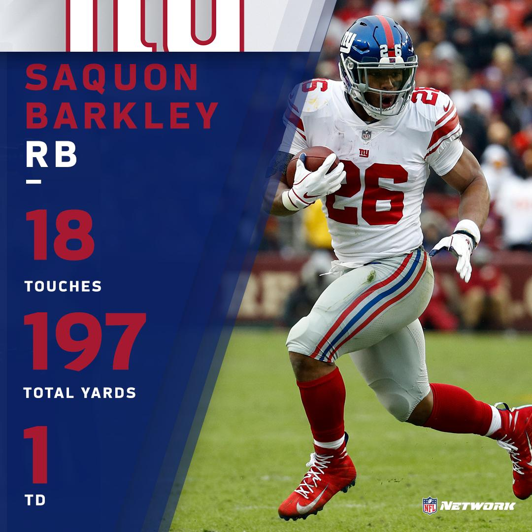Another HUGE performance by rookie @saquon in a @Giants victory over the Redskins  #NYGvsWAS | #GiantsPride