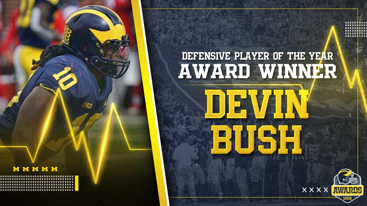 The Defensive Player of the Year: Devin Bush!   Congrats, @_Dbush11!   NOMINEES:   Chase Winovich    Devin Bush  #GoBlue<br>http://pic.twitter.com/85cWr2gPbV