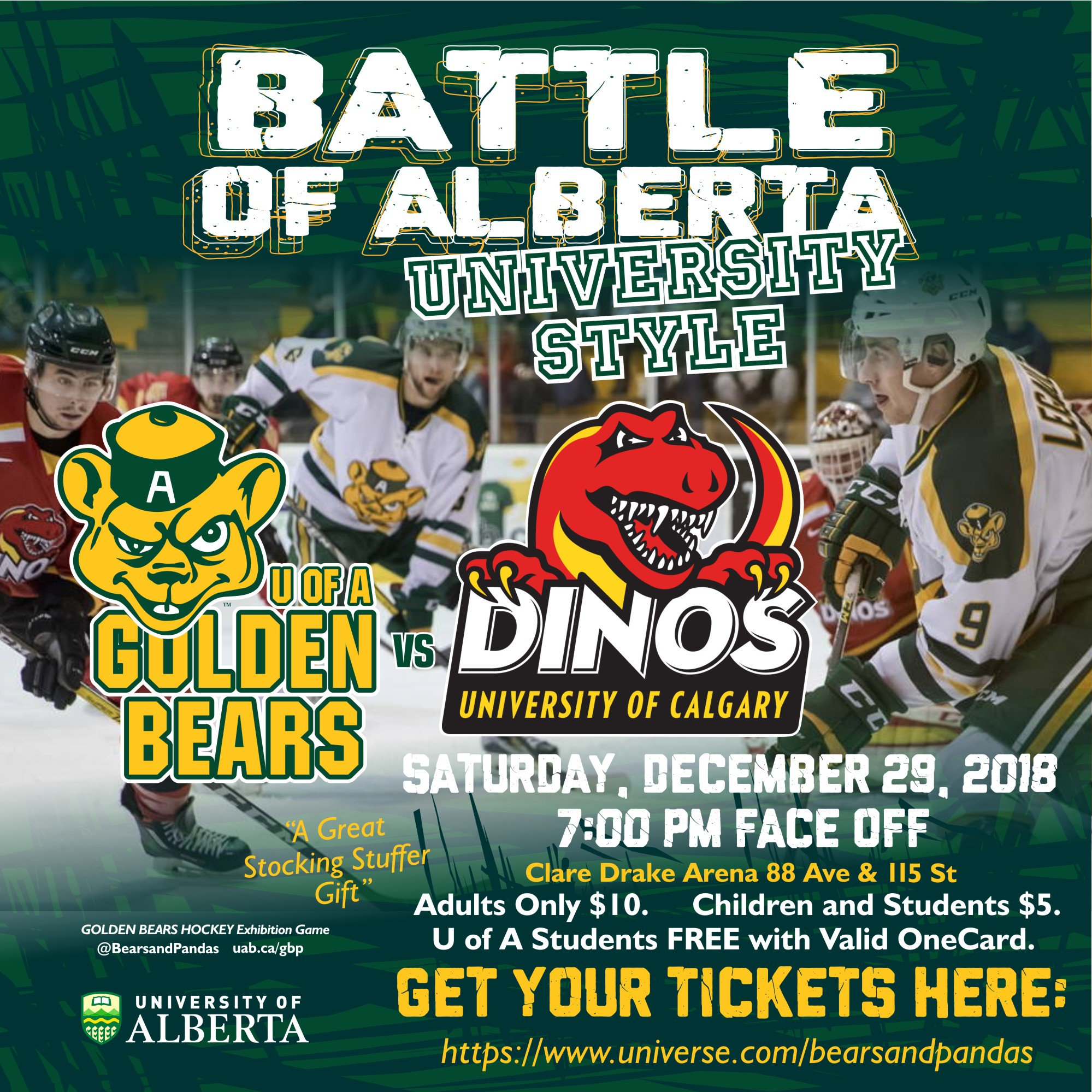"Stan Marple GM Golden Bears Hockey on Twitter: ""Great Stocking Stuffer for  Christmas Battle of Alberta - University Style ! Adults only $ 10 Children  $ 5 @UAlberta students FREE with valid"