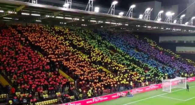 @WatfordFC fans show support for #LGBT community with giant #Pride flag http://www.benjaaquila.com/2018/12/watford-fc-fans-show-support-for-lgbt.html… #EqualRights #RainbowLaces #football #UK @premierleague @benjaaquila
