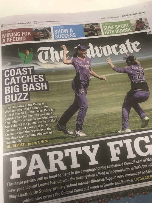 Thanks for visiting @HurricanesWBBL, it was great fun. Hopefully we see you back on the Coast next summer. #TasmaniasTeam #WBBL04 @theadvocatetas Photo