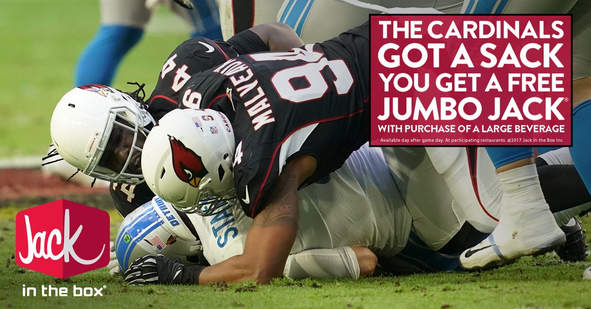 The sack by @cammalveaux gets you a FREE Jumbo Jack with purchase of a large drink at participating Phoenix @JackBox Monday.