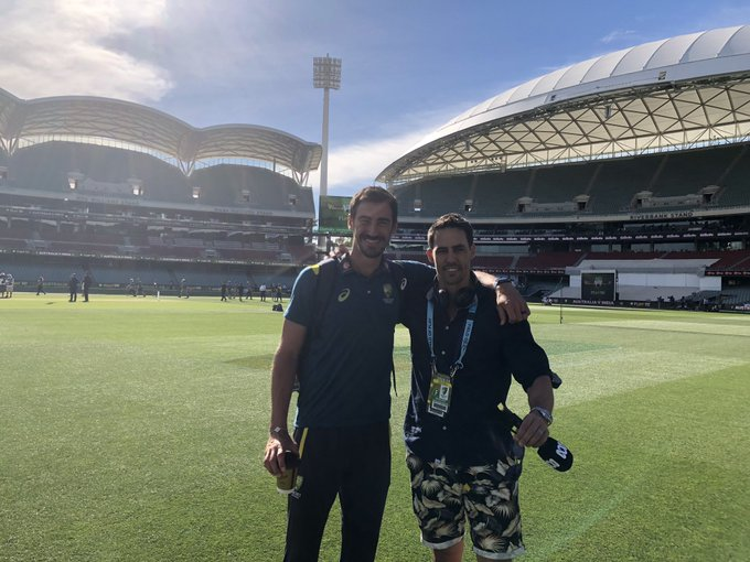 Two great Mitchell's @MitchJohnson398 and Mitchell Starc at Adelaide Oval @abcgrandstand Photo