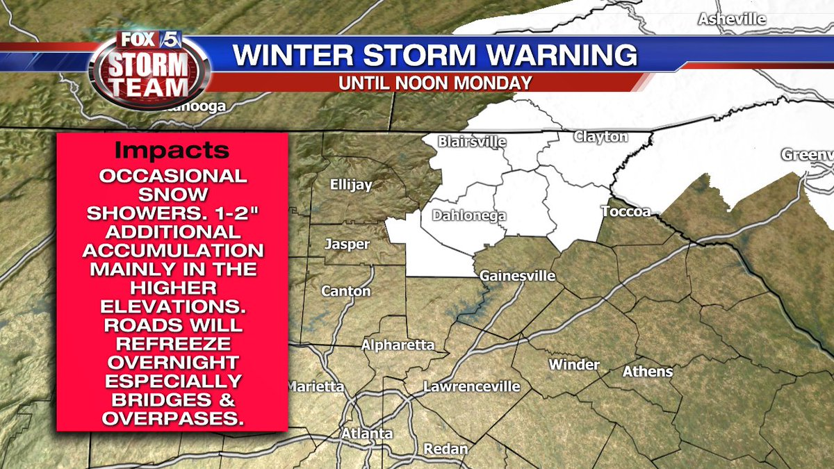 Winter Storm Warning &amp; Winter Weather Advisory still in effect until noon Monday for the NE corner of the state. Light snow may fall overnight with higher amounts in the higher elevations. Metro Atlanta gets light rain/snow mix with little to no impact. <br>http://pic.twitter.com/vS0EJsojy2