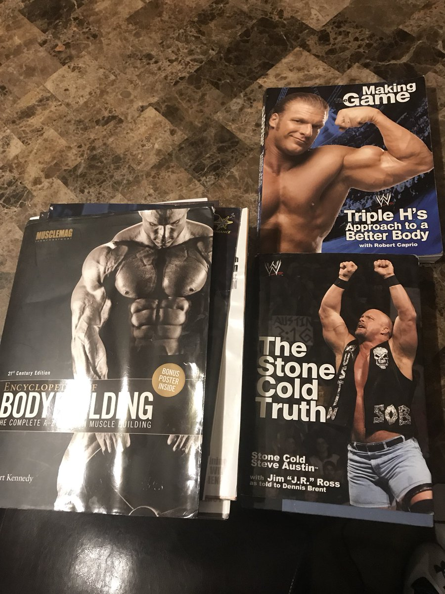 When you go thru old stuff in mom's garage, you forget stuff you had. Read these back in 2008 in middle school instead of reading school books or paying attention.  Gonna give a re read Might relate a bit now.... #prowrestling #bodybuilding #fitness #books @steveaustinBSR<br>http://pic.twitter.com/27qDmxWLza
