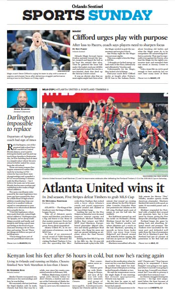 Pretty cool. My #MLSCup story on the Orlando Sentinel sports cover today. #atlutd Photo
