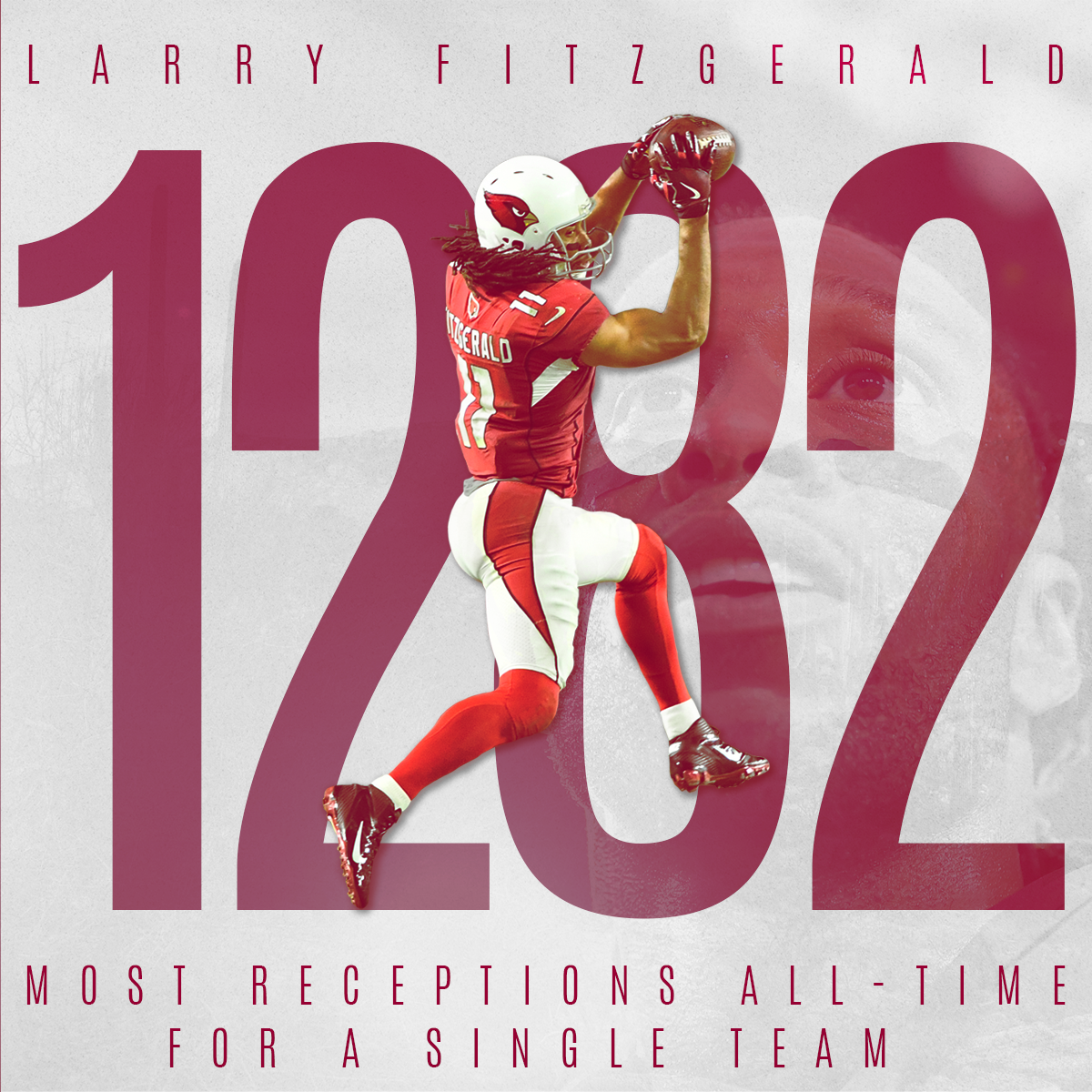 No player in @NFL history has more catches with one team than @LarryFitzgerald has in our uniform.  #ProBowlVote