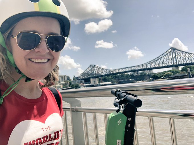 Loving the @limebike ride in beautiful #Brisbane after spending breakfast with some of the inspirational @TEDxBrisbane speakers, organisers and advocates. Photo