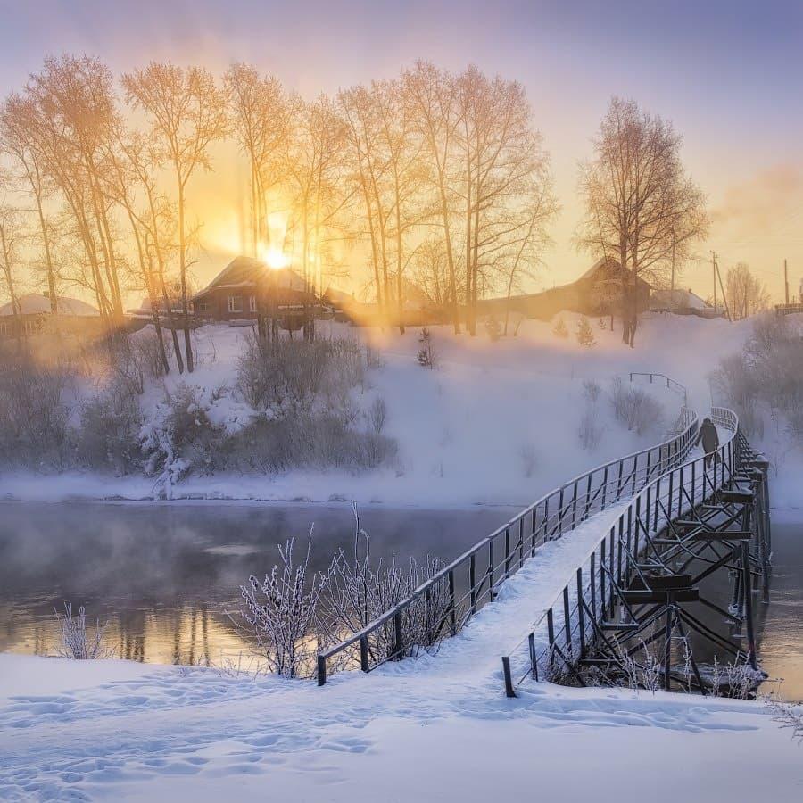 картинки зимнего утра в деревне будут