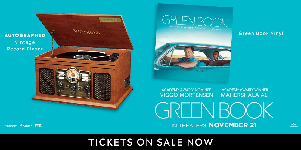 LAST CHANCE! FOLLOW &amp; RETWEET  for your chance to win a vintage record player and the vinyl soundtrack to the #GoldenGlobes nominated film @greenbookmovie signed by Viggo Mortensen.  http:// bit.ly/2PsIMsR  &nbsp;  <br>http://pic.twitter.com/GrbjZobBbO