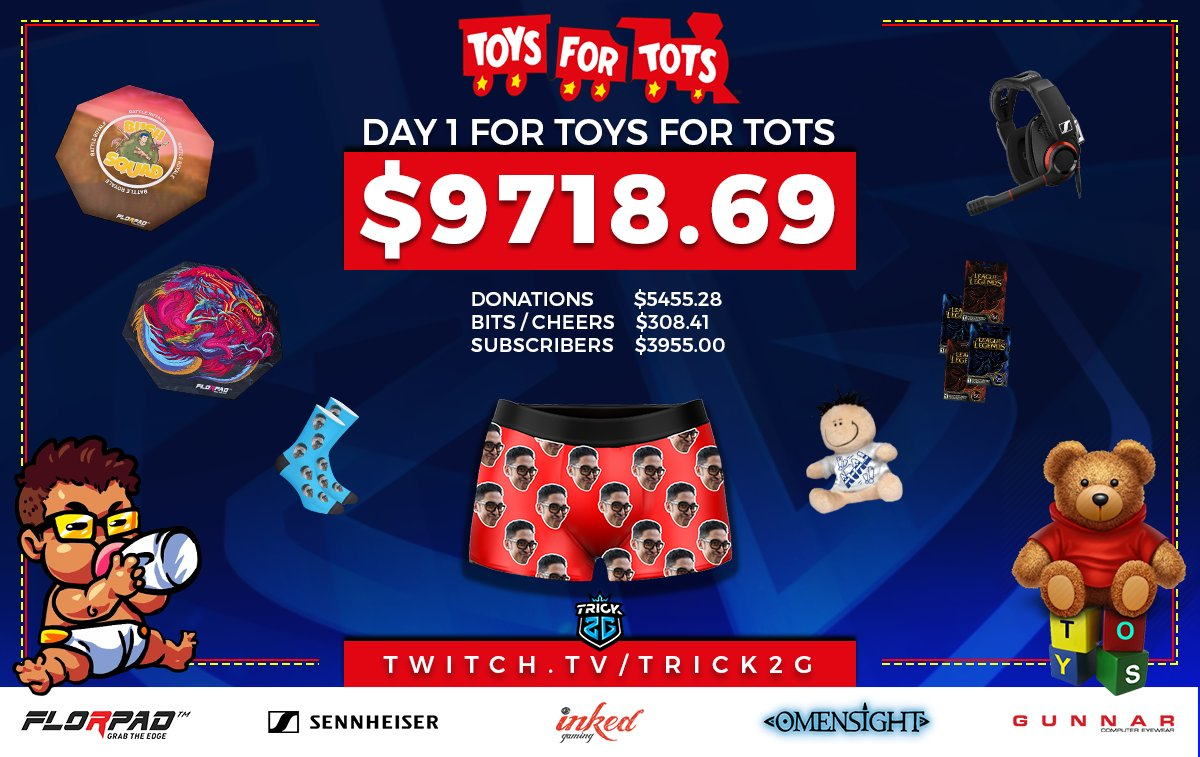 Day 2 for @ToysForTots_USA going on now. Lots of giveaways from @SennheiserGamer @InkedPlaymats @OfficialFlorpad @SpearheadMtl  and many more #ForTheKids http://twitch.tv/trick2g