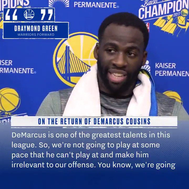 """We're going to make it work and do what we got to do, to get the best out of everybody on this team."" Draymond on the 🎙after today's practice ⤵️"