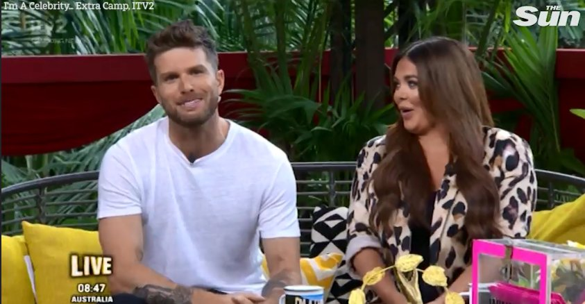 I'm A Celebrity's Nick Knowles looks mutinous and doesn't laugh as Joel Dommett makes a joke about his budgiesmugglers starspost.com/im-a-superstar…