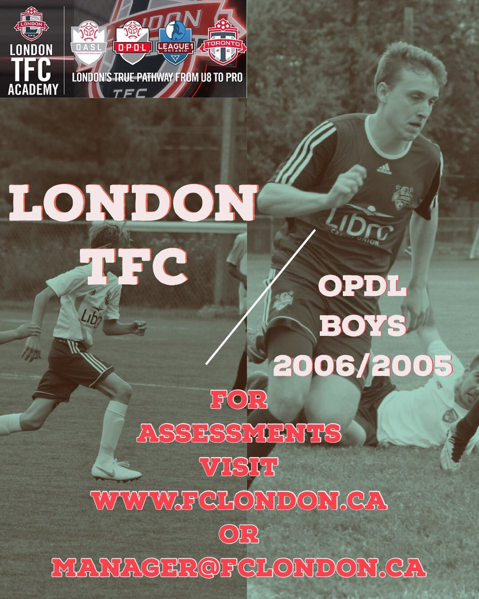 📣📣2019 OPDL Assessments 📣📣 BOYS born in 2006 and 2005!  For assessments http://fclondon.ca or manager@fclondon.ca #LdnONT #OPDL @OntarioIsSoccer @League1Ontario @FCLondon @JeffreyKReed @BMOCentreLondon @ByronSoccer @NorWestSoccerL