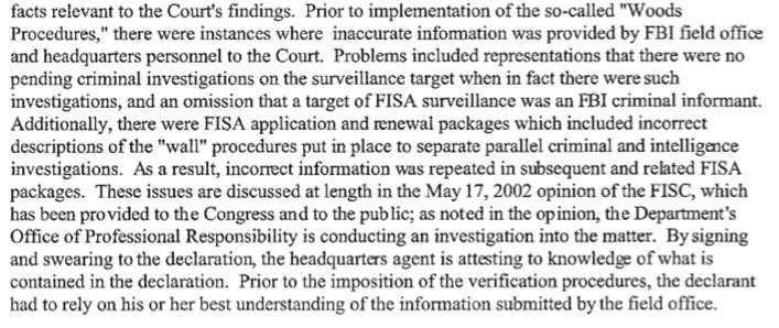 Maybe Comey doenst know, but Mueller knows that FBI must verify ea. & every fact prior to presenting to FISA court or it cannot be used. As FBI Director, Mueller implemented the rules (Woods Procedures) after FBI abuses. Wonder why rules werent followed with Page wiretap apps?