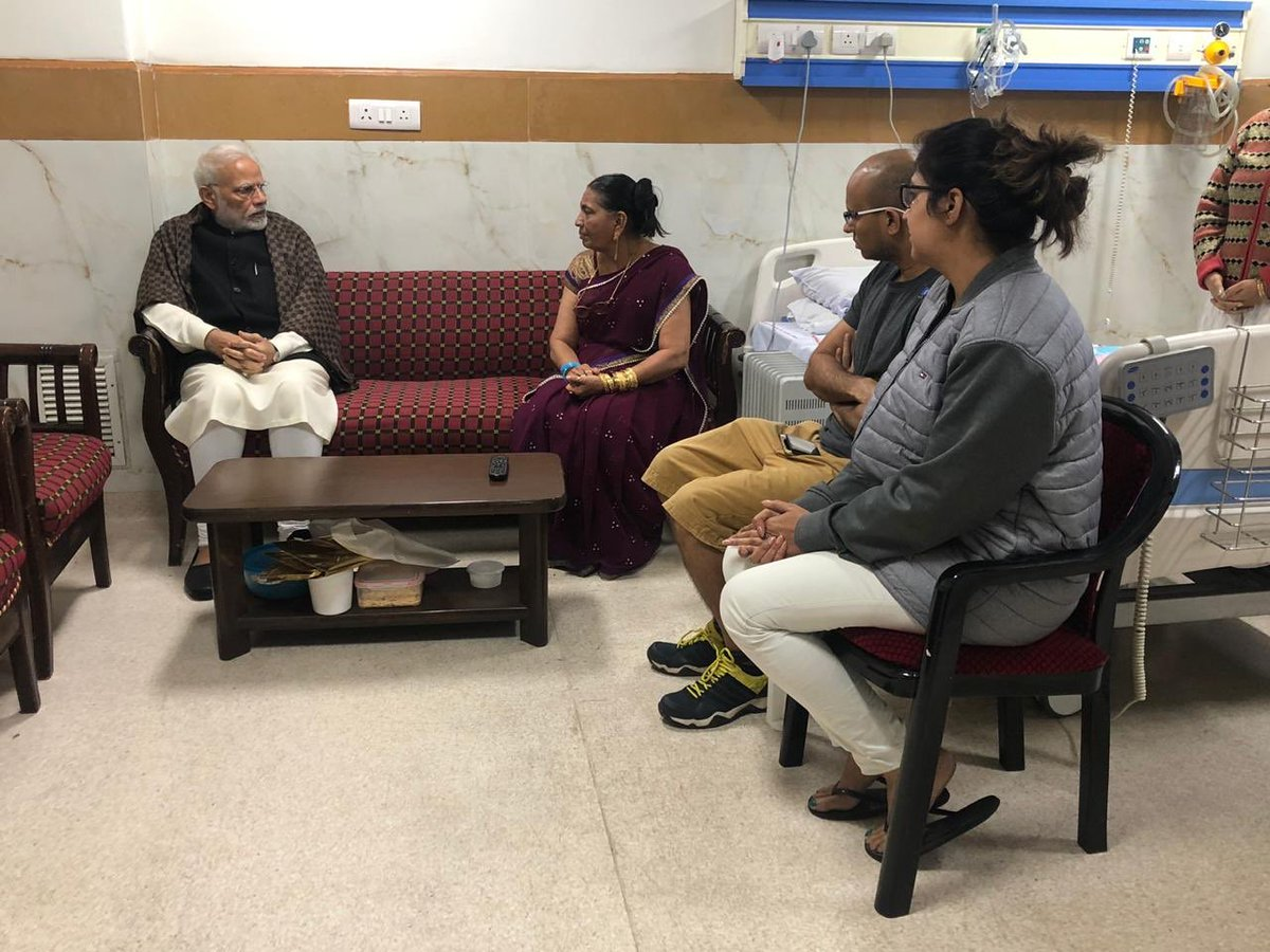 PM @narendramodi met the family of late Shri Jagdish Thakkar and expressed condolences on Jagdishbhai's unfortunate demise.   Shri Thakkar served as the PRO to PM and had previously worked with various Chief Ministers of Gujarat. He distinguished himself as a veteran journalist.