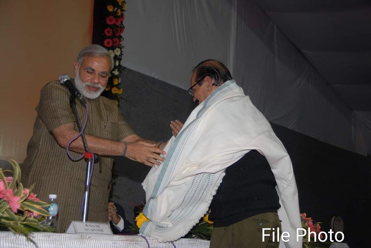 The Prime Minister went to AIIMS, where he spent time with the family of late Shri Jagdish Thakkar.   Jagdishbhai is fondly remembered by all those people who interacted closely with him.   Here is a picture of Shri @narendramodi with Shri Thakkar.
