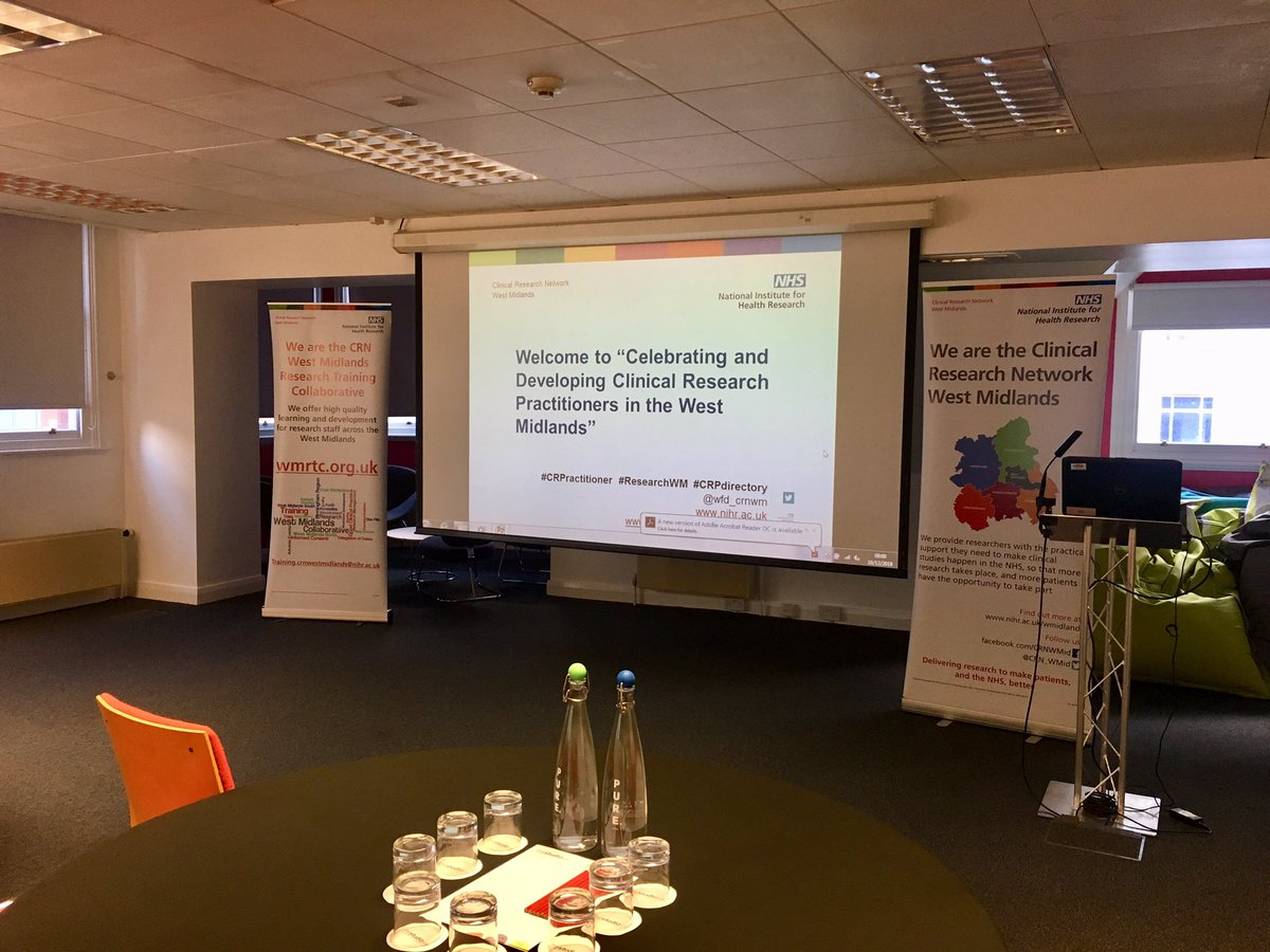Ready to meet our West Midlands Clinical Research Practitioners at The Studio , Birmingham today! #crpractitioner #researchwm #crpdirectory @wfd_crnwm <br>http://pic.twitter.com/TsQUdj6RAs