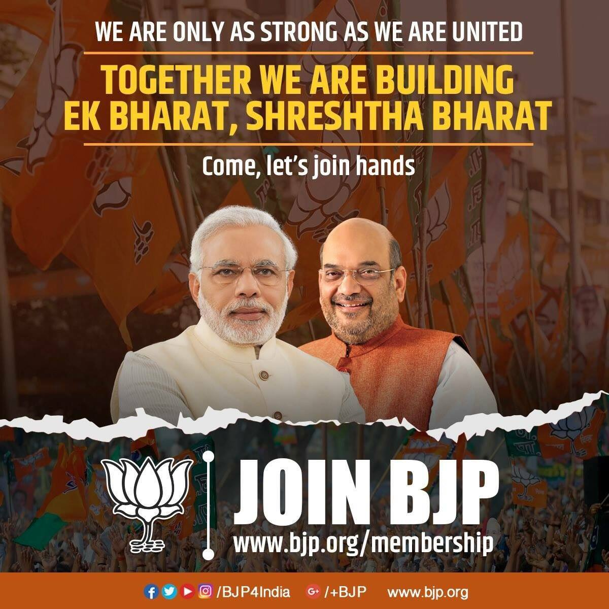 Let us support the movement to build a 'New India'. #JoinBJP and strengthen our hands in the mission. Join at https://t.co/jFIcYLfre3