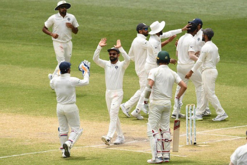 What a way to start the series!#TeamIndia never released the pressure. Superb batting by @cheteshwar1 with crucial knocks in both innings, @ajinkyarahane88 in the 2nd innings and excellent contributions by our 4 bowlers. This has brought back memories of 2003. #INDvAUS