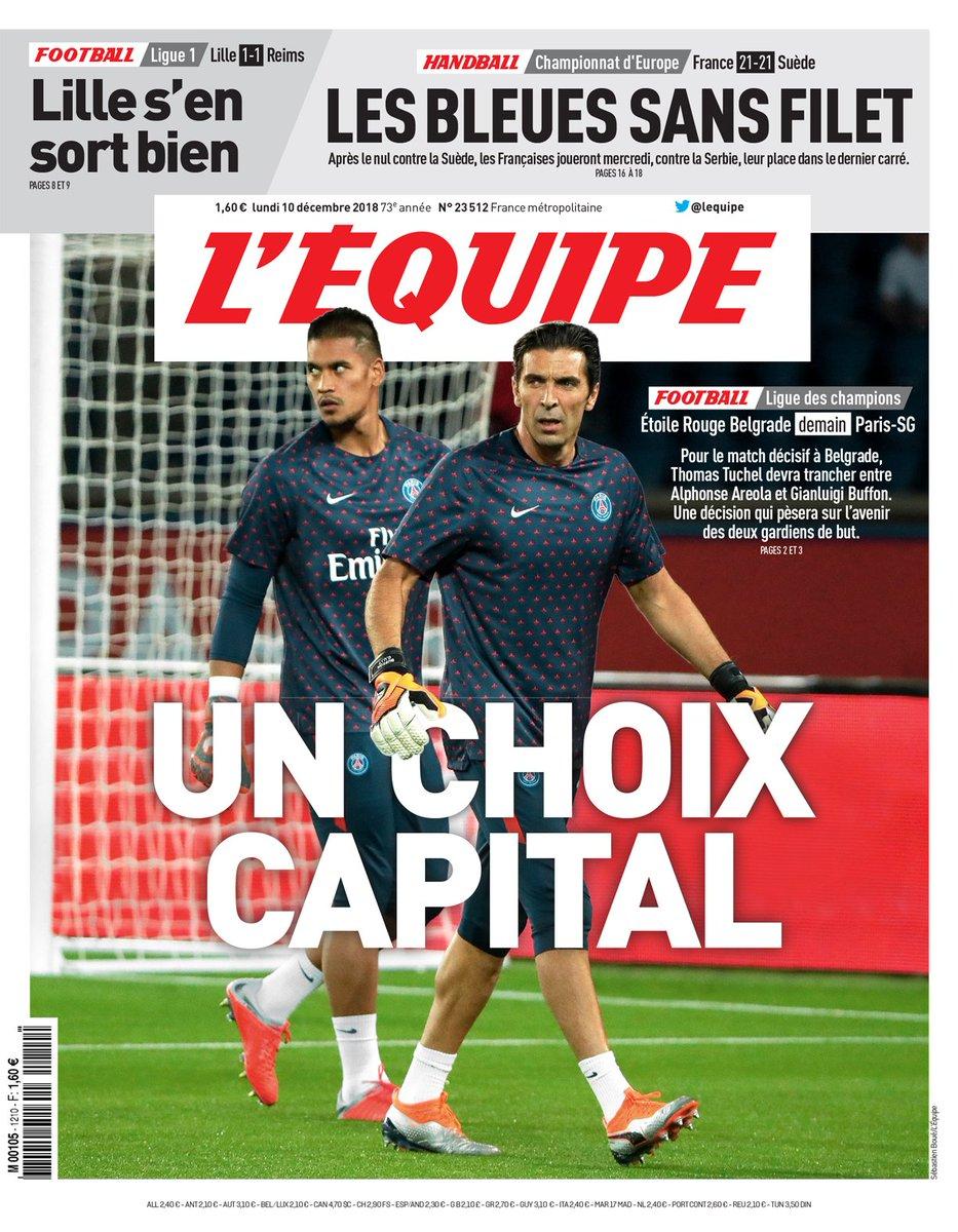 « Un choix capital » en une de L'Équipe ce lundi 10 décembre.   Téléchargez le journal 👉 https://t.co/auPdYwXjEA