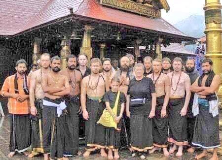 Ex Comrades&quot; from Ex Communist Russia after throwing of their Atheist ideology embrace Ayyappa. Comes with a Young girl (under 10) to pray in Sabarimala.   Our Indian Communists can take inspiration from them  #savesabarimala  #savesabarimalatradition<br>http://pic.twitter.com/WicWugNxXA