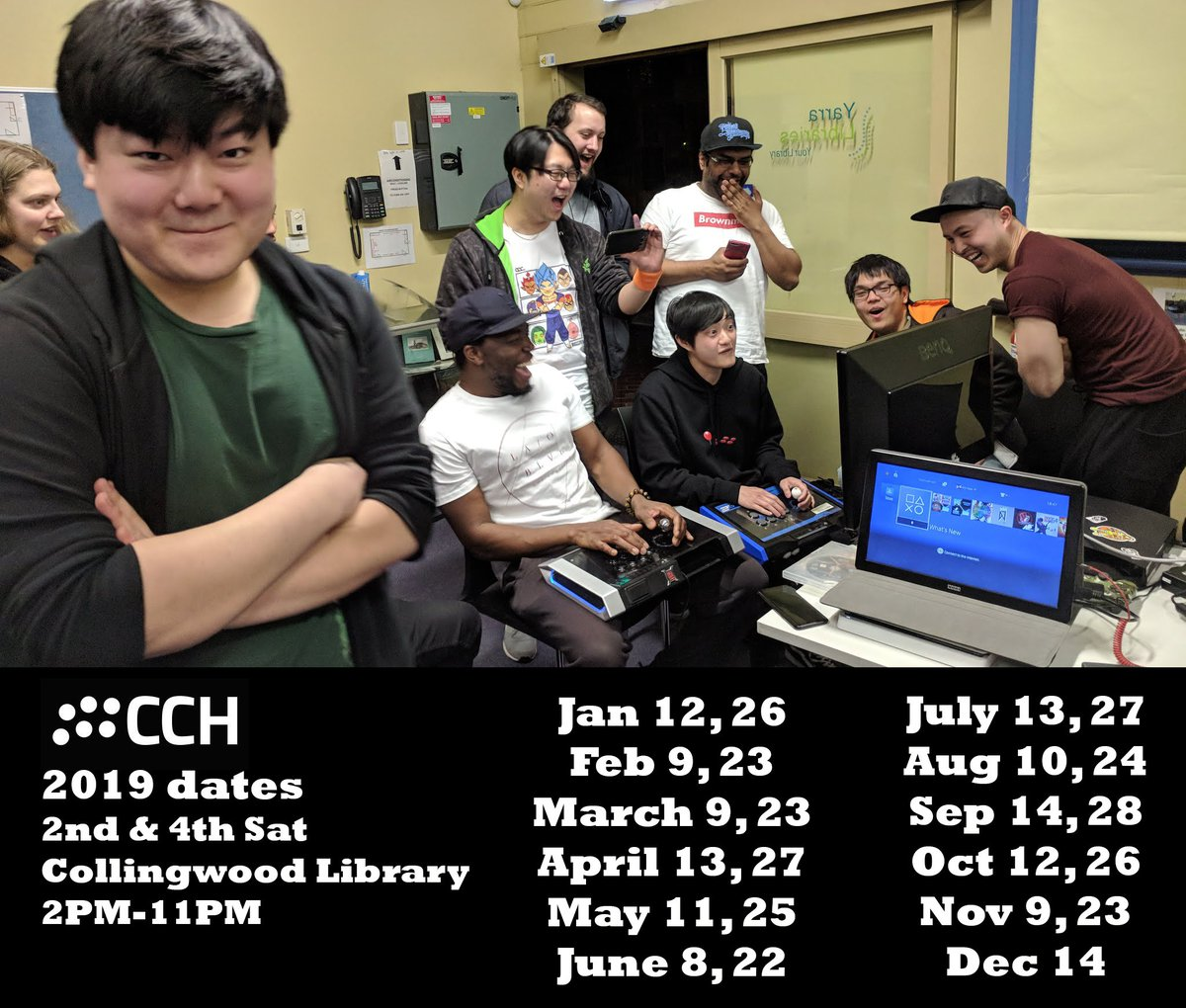 CCH 2019 dates sticky:  Every 2nd &amp; 4th Saturday of the month at Collingwood library (11 Stanton St, Abbotsford 3066) Fighting games casuals 2PM-11PM  Jan 12, 26 Feb 9, 23 March 9, 23 April 13, 27 May 11, 25 June 8, 22 July 13, 27 Aug 10, 24 Sep 14, 28 Oct 12, 26 Nov 9, 23 Dec 14 <br>http://pic.twitter.com/flFtCEhcF6