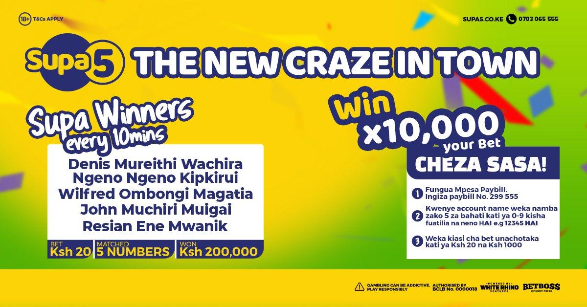 Play Supa 5 today, it takes 5 numbers in 10 minutes to turn your bet of Ksh 1000 bob to Ksh 10,000,000. Tuma bet yako kwa Paybill number 299 555. Kwenye Account Name, weka namba zako 5 za bahati na neno MAISHA and in the next 10 Minutes you could be lucky winner. #SUPA @Supa5ke