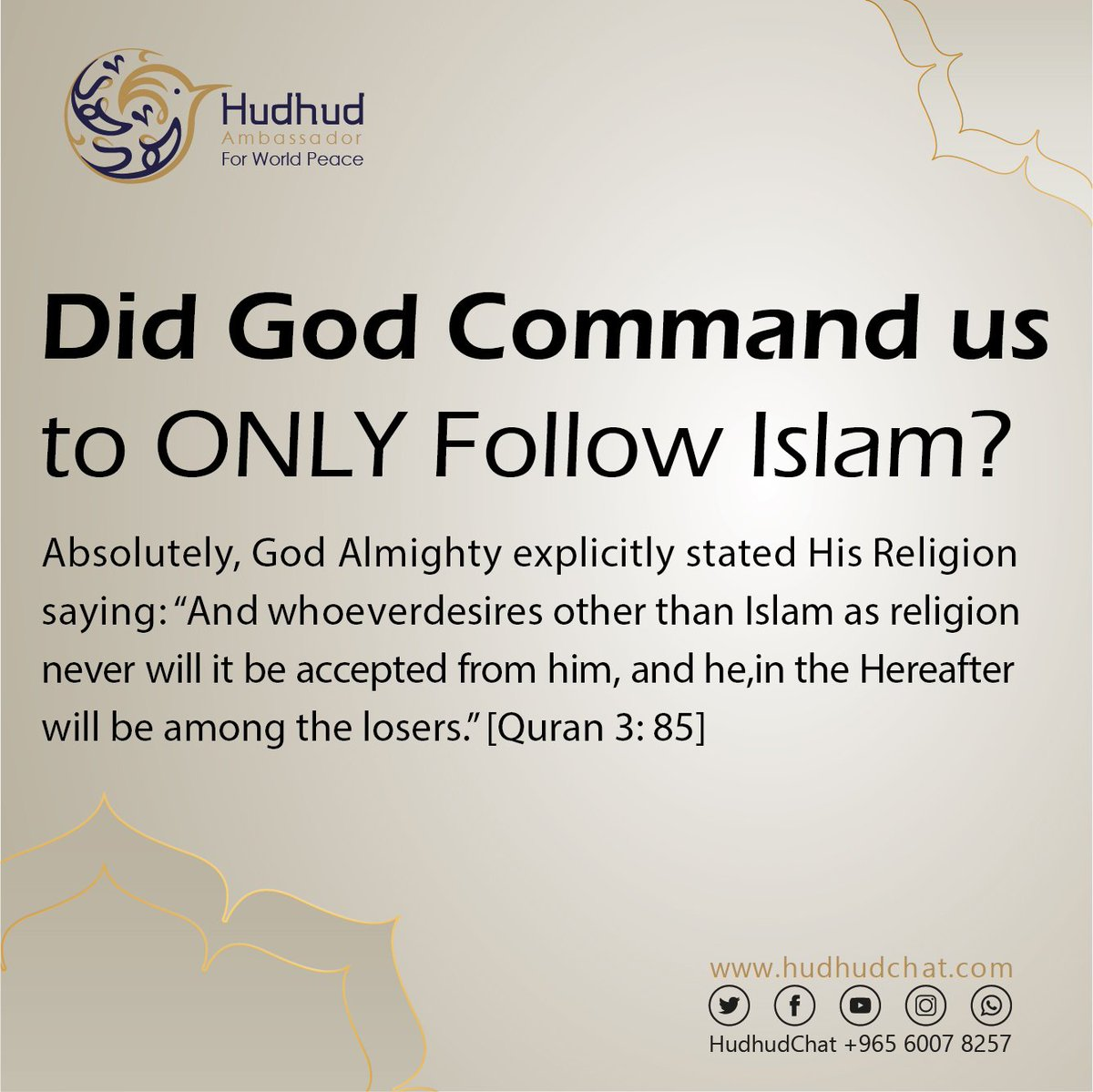 Did #God Command us to ONLY Follow #Islam?  Would you like to learn more? Please come and chat with us live !  http://www. hudhudchat.com       #HudhudChat  #PBB4thBig8tingLinggo #IslamIsDivine #UK #USA #Canada<br>http://pic.twitter.com/01gd9gqa2S