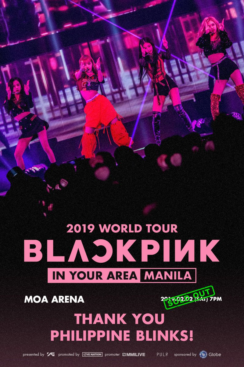 Thank you for your wonderful support, BLINKS in Manila!!! All tickets, including limited view seats are SOLD OUT!! MANILA, #BLACKPINK IS COMING TO YOUR AREA SOON!   #블랙핑크 #BLACKPINK2019WORLDTOUR2#INYOURAREA0#INYOURAREAMANILA1#WORLDTOUR9#KPOPW#LIVENATIONO#YGRLDTOUR  MANILA