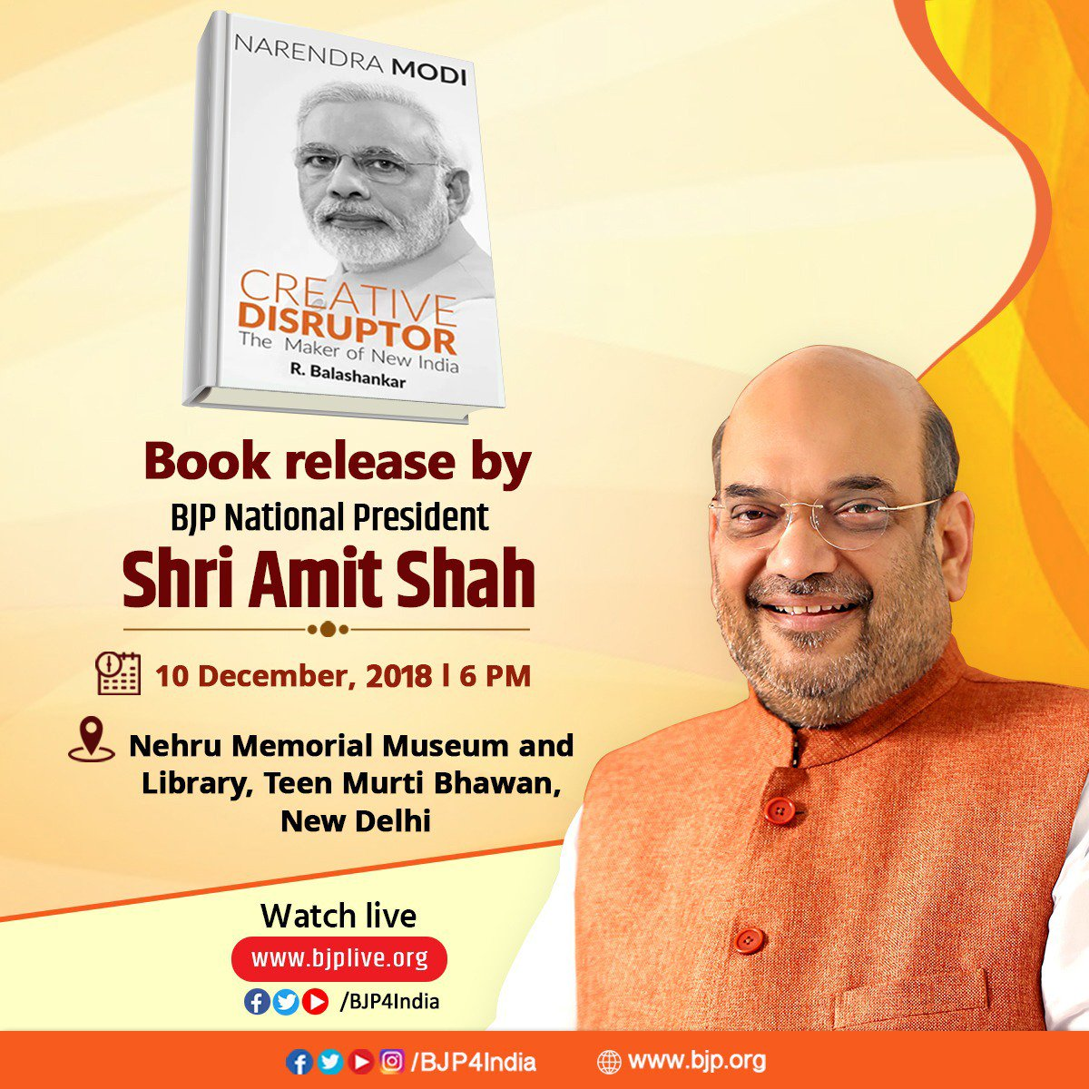 BJP National President Shri @AmitShah will release a book 'Narendra Modi: Creative Disruptor - The Maker of New India' at 6 pm today in New Delhi. Watch LIVE at https://t.co/vpP0MI6iTu and https://t.co/jtwD1yPhm4.